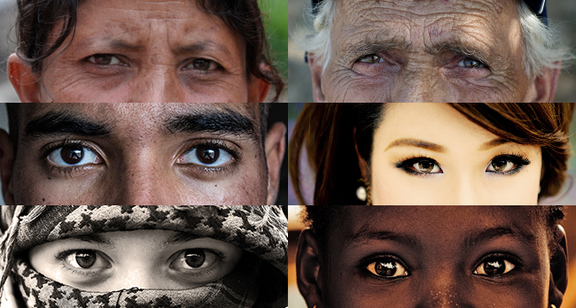 Several photographs of peoples' eyes are shown.