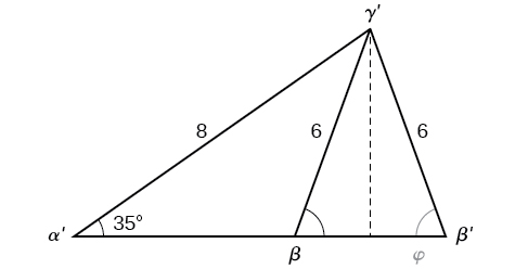An oblique triangle built from the previous with standard prime labels. Side a is of length 6, side b is of length 8, and angle alpha prime is 35 degrees. An isosceles triangle is attached, using side a as one of its congruent legs and the angle supplementary to angle beta as one of its congruent base angles. The other congruent angle is called beta prime, and the entire new horizontal base, which extends from the original side c, is called c prime. There is a dotted altitude line from angle gamma prime to side c prime.