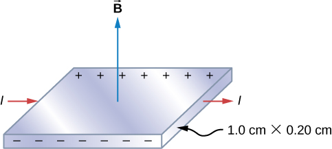 The silver ribbon is shown with current flowing to the right, a magnetic field pointing up, negative charges accumulating on the edge near us and positive charges accumulating on the far edge. The dimensions of the strip are 1.0 cm by 0.20 cm.