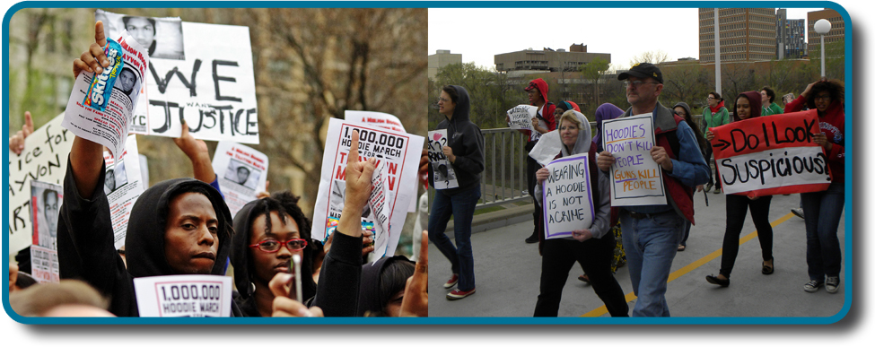 """Two photographs show people holding signs at public events in response to Trayvon Martin's death. The signs include words and messages such as, """"Justice,"""" """"Wearing a hoodie is not a crime,"""" """"Hoodies don't kill people; guns kill people,"""" and, """"Do I look suspicious?"""""""