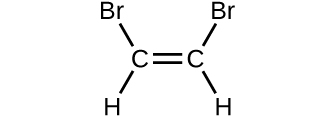 A structure is shown. Two C atoms form double bonds with each other. Each C atom also forms a single bond with an H atom and a B r atom.