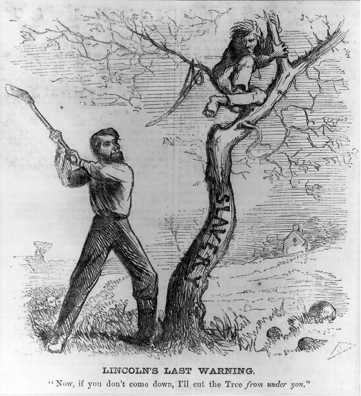 "The cartoon shows a man in a tree labeled ""slavery."" Another man (Lincoln) is holding an ax in the air, ready to cut the tree down. The caption reads ""Lincoln's Last Warning. 'Now, if you don't come down, I'll cut the Tree from under you.'"""