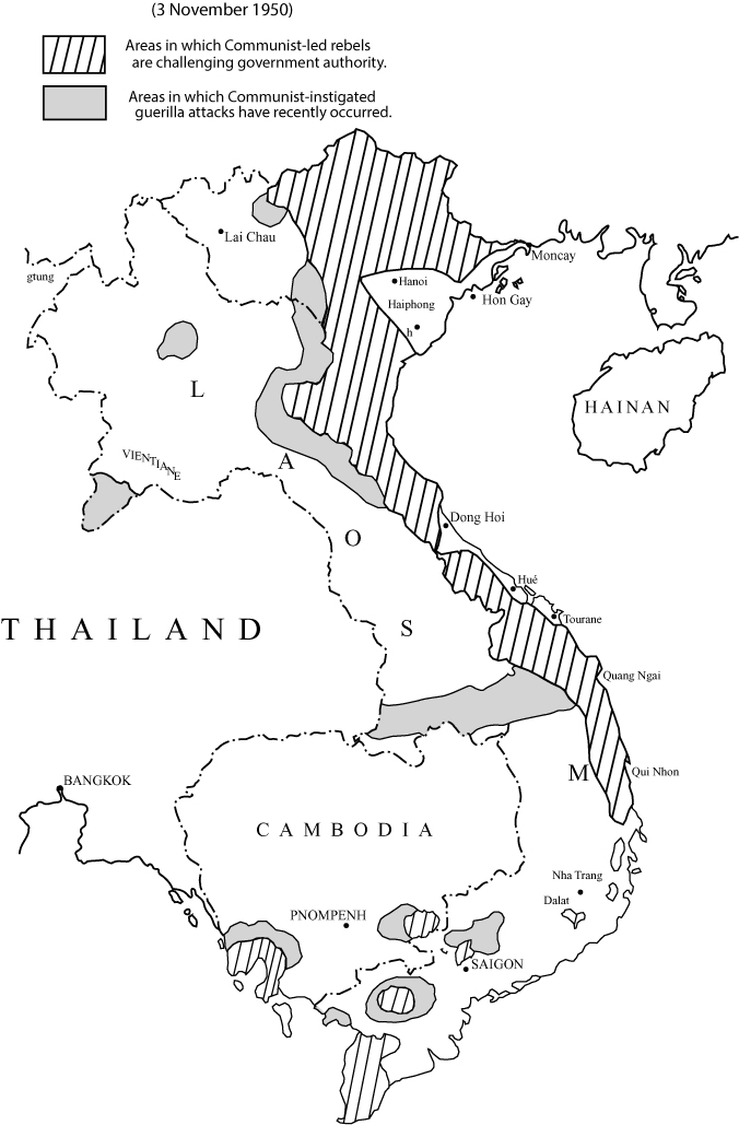 The map of Indochina includes Cambodia, Laos, Thailand, and Vietnam. Most of north and central Vietnam and some isolated areas in southern Vietnam and Cambodia are shaded to show areas in which Communist-instigated guerilla attacks have recently occurred. Areas surrounding those isolated areas and parts of Laos are shaded to indicate areas in which Communist rebels are challenging government authority.