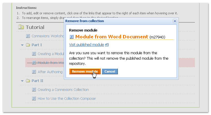 Pop-up confirming removal of a module