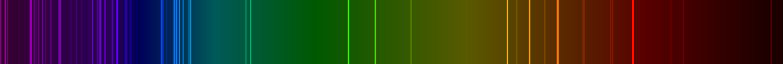 Emission spectrum of oxygen is shown as a band containing all colors with some distinct colors as discrete bold lines.