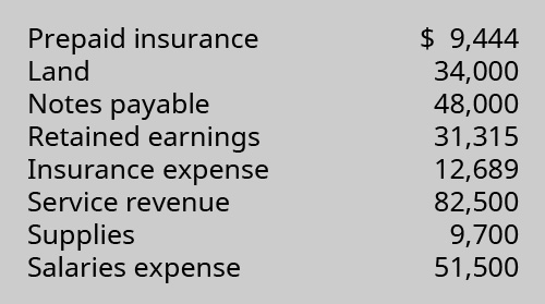 Prepaid insurance $9,444, Land 34,000, Notes payable 48,000, Retained earnings 31,315, Insurance expense 12,689, Service revenue 82,500, Supplies 9,700, Salaries expense 51,500.