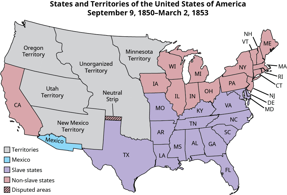 "Map of the states and territories of the United States, showing the panhandle of present-day Oklahoma as disputed (labeled ""neutral strip""); Mexico as a small strip of what is currently southern Arizona and southwest New Mexico; territories of Oregon, Utah, New Mexico, Unorganized, and Minnesota; slave states of Texas and those east to the Atlantic and north to Missouri, Kentucky, Virginia, Maryland, and Delaware; and non-slave states as Iowa and Wisconsin, and all remaining states to the east (and north of the indicated slave states)."