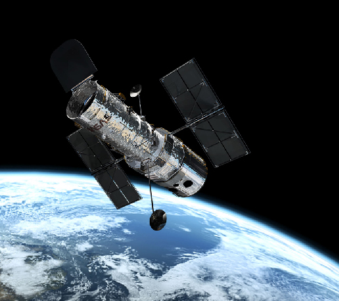 Image of the Hubble Space Telescope in orbit, seen against the bright surface of the Earth.