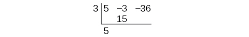The set-up of the synthetic division for the polynomial 5x^2-3x-36 by x-3, which renders {5, -3, -36} by 3.