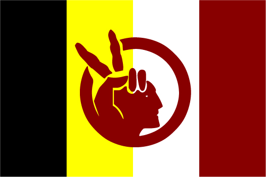 The flag's background is made up of four vertical stripes: black, yellow, white, and red from left to right. In the center is a red emblem of an American Indian's face. A hand holding the peace sign makes up the Indian's feathers in his hair.