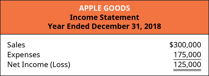 Annual Income Statement listing Sales of $300,000, Expenses of $175,000, and Net Income of $125,000.