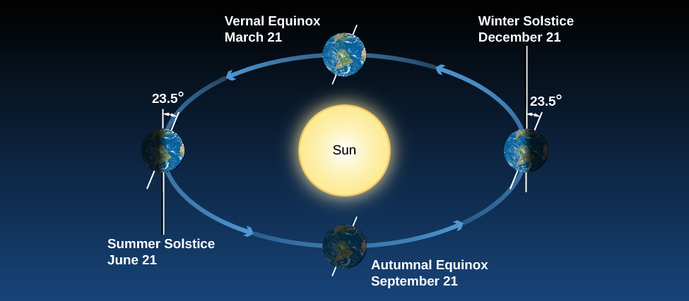"""Earth's Seasons. This illustration shows the Earth at four positions along its orbit around the Sun, which is drawn in the center of the orbit indicated by circular arrows. At left, the Earth is shown at """"Summer Solstice June 21"""", and has its northern axis of rotation (tilted 23-degrees from vertical) pointing toward the Sun. At bottom center, the Earth is at """"Autumnal Equinox September 21"""", with the northern rotation axis pointing toward the right. At right, the Earth is shown at """"Winter Solstice December 21"""", with the northern axis of rotation pointing away from the Sun. Finally, at top, the Earth is shown at """"Vernal Equinox March 21"""", with the northern rotation axis pointing toward the right."""