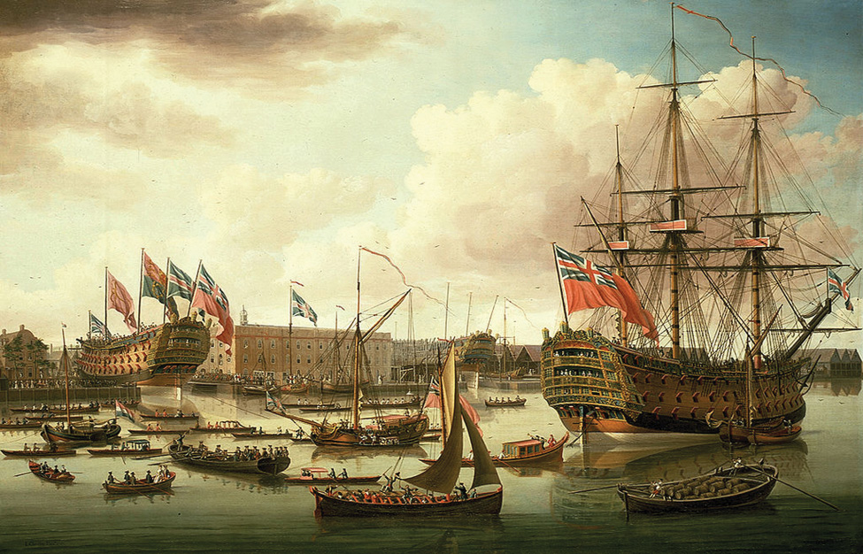 A painting shows the Royal Navy in a harbor. Some of the ships have British flags flying from them.