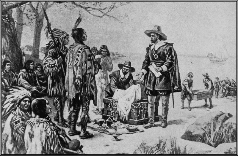 This figure shows a depiction of a white man holding a paper and meeting with two Native Americans. There are other Native Americans gathered around, sitting on the ground behind them. There is also another white man next to the first pulling fabric out of a chest.