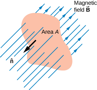 Figure shows a uniform magnetic field B cutting through a surface area A.