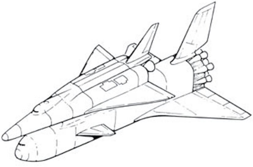 A sketch of a space shuttle attached to the top of the boost aircraft.