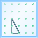 The figure shows a grid of evenly spaced pegs. There are 5 columns and 5 rows of pegs. A rubber band is stretched between the peg in column 2, row 3, the peg in column 2, row 5 and the peg in column 3, row 5, forming a right triangle. The 2, 5 peg forms the vertex of the 90 degree angle and the line from the 2, 3 peg to the 3, 5 peg forms the hypotenuse of the triangle.