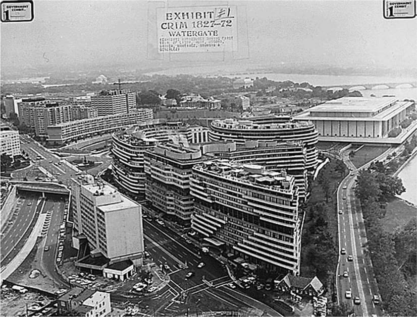 An aerial shot of the Watergate complex in Washington D.C.