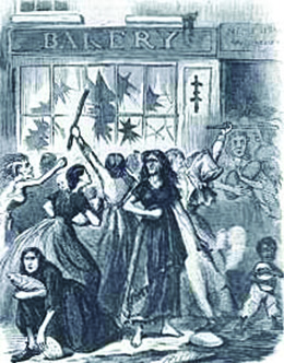 """An illustration shows a crowd of women and children, some of whom are gaunt and scantily dressed, breaking the windows of a storefront marked """"Bakery"""" with sticks and running off with loaves of bread."""