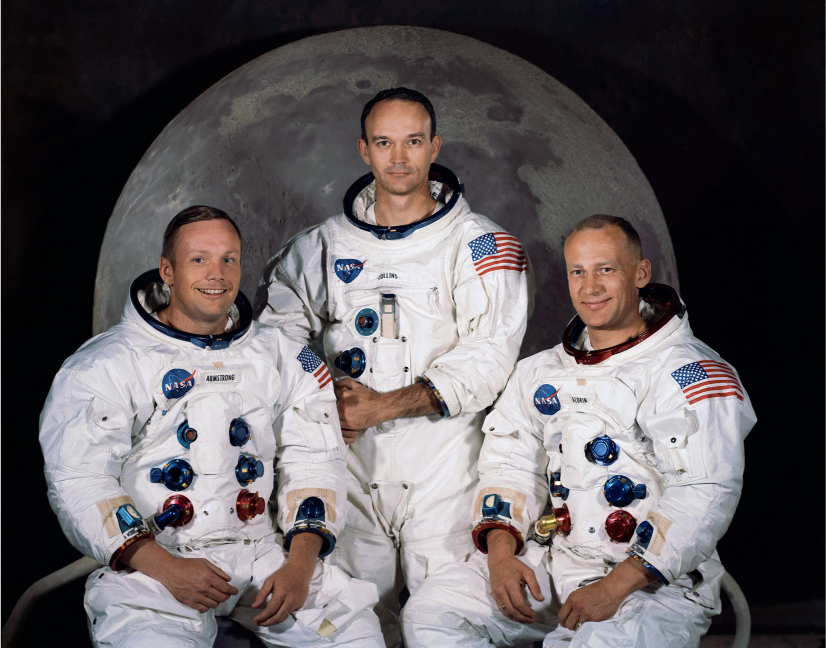 Photograph of Neil Armstrong, Michael Collins, and Edwin Aldrin Jr