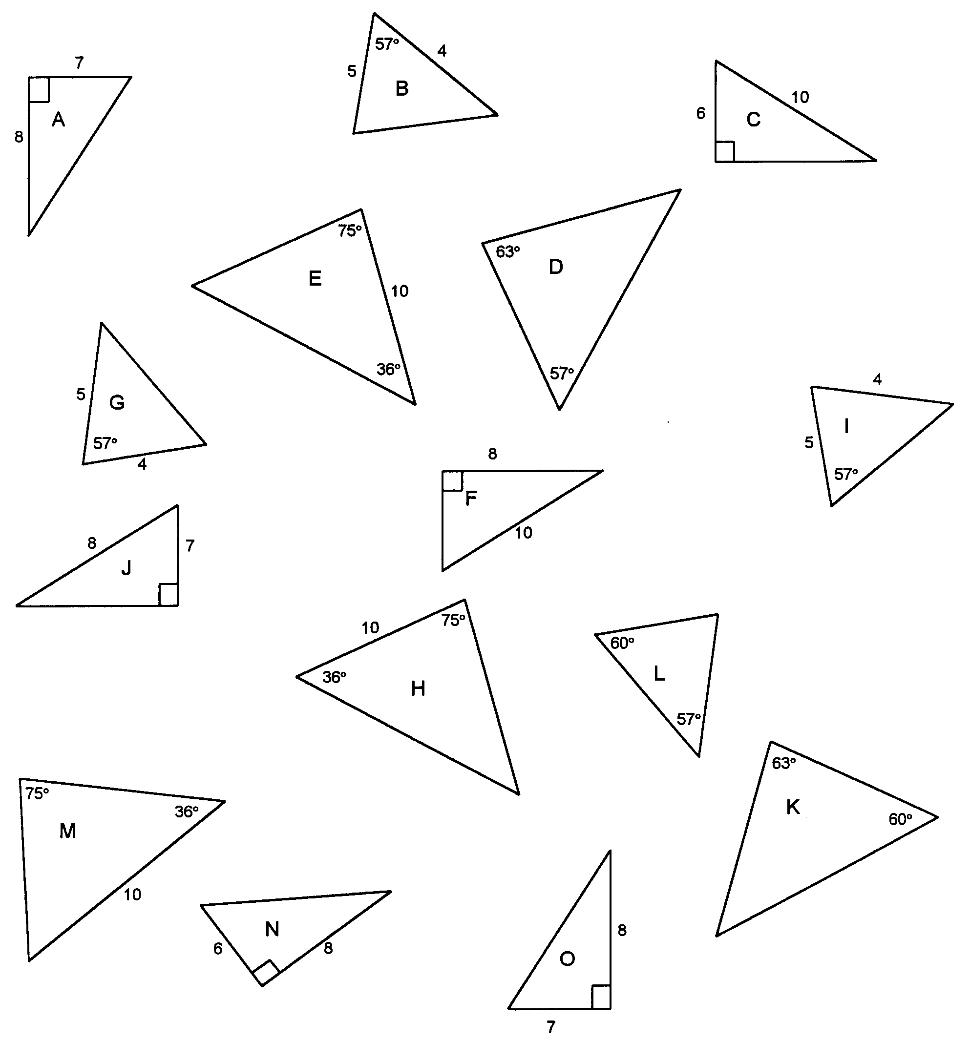 Geometry of lines and triangles – Constructing Triangles Worksheet