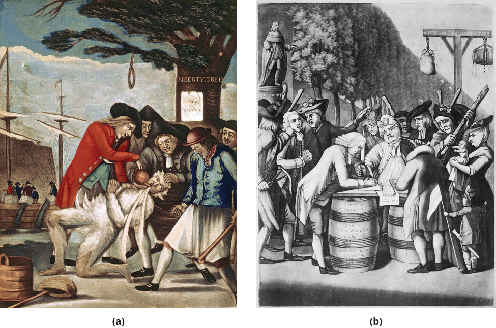 """On the left, a painting shows five Patriots tarring and feathering the Commissioner of Customs, John Malcolm. One Patriot forcibly pours tea from a teapot into Malcolm's mouth. In the background, the Boston Tea Party and the Liberty Tree are visible. On the Liberty Tree hangs an upside-down paper labeled """"Stamp Act."""" On the right, an engraving shows a merchant signing a non-importation agreement outdoors on a makeshift table of barrels, surrounded by a crowd of stern-looking people holding thick sticks. Behind him, another man, forcibly held by a group of threatening-looking men, is apparently next in line to sign the agreement. In the background, a bag of tar and a bag of feathers hang from a wooden structure."""