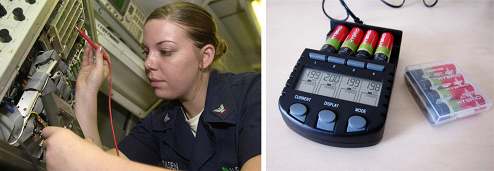 The first photograph shows an avionics electronics technician working inside an aircraft carrier, measuring voltage of a battery with a voltmeter probe. The second photograph shows the small black battery tester which has an LED screen that indicates the terminal voltage of four batteries inserted into its case.