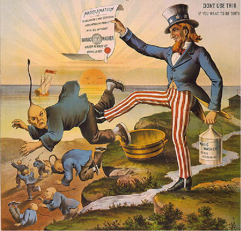 "Uncle Sam holds a bucket labeled ""Magic Washer Beats Everything"" in his left hand and a proclamation in his right while kicking a Chinese man off a cliff. In the background are other Chinese men falling off the cliff and running to the shore. The sun on the horizon has a stereotyped Chinese face. The caption of the cartoon reads ""Don't use this if you want to be dirty."""