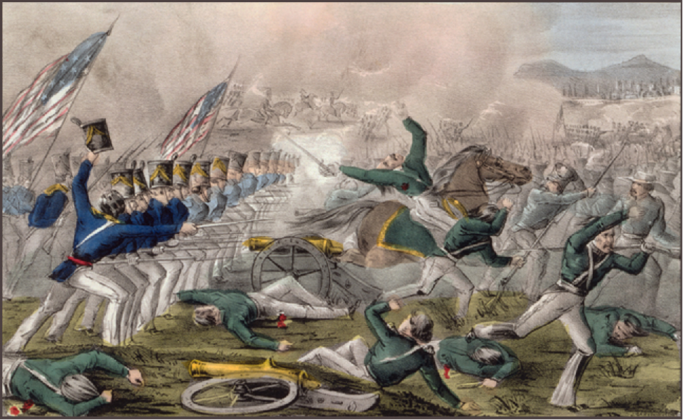Lithograph showing a battle between two groups of soldiers. American flags fly on the left and soldiers are shown retreating on the right; some have fallen and are wounded or dead.