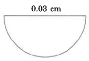 A half-circle of diameter 0.03cm.