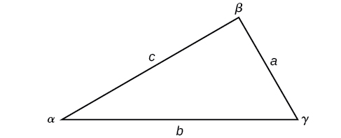 A triangle with standard labels.