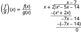 Equation shows f over g of x equals f of x divided by g of x. This is translated into a division problem showing x squared minus 5x minus 14 divided by x plus 2. The quotient is x minus 7.