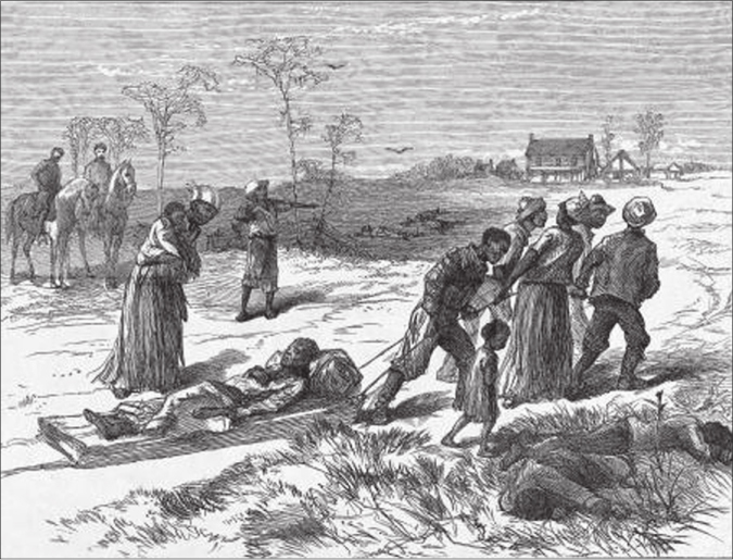 The figure shows a group of African Americans pulling a sled carrying a body. There are several other bodies lying on the ground.