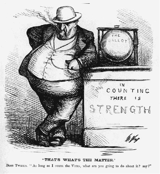 The cartoon shows Boss Tweed leaning on a voting booth that is labeled In Counting There is Strength. The booth has the ballot box on top of it. The caption at the bottom of the cartoon reads That's what's the matter.Boss Tweed: As long as I count the votes, what are you going to do about it? Say?