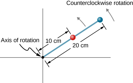 Figure is a drawing of a rod that rotates counterclockwise. Rod has two beads on it, one at 10 cm from the rotation axis and the other at 20 cm from the rotation axis.
