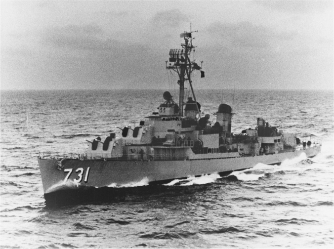 U.S. Destroyer USS Maddox at sea.