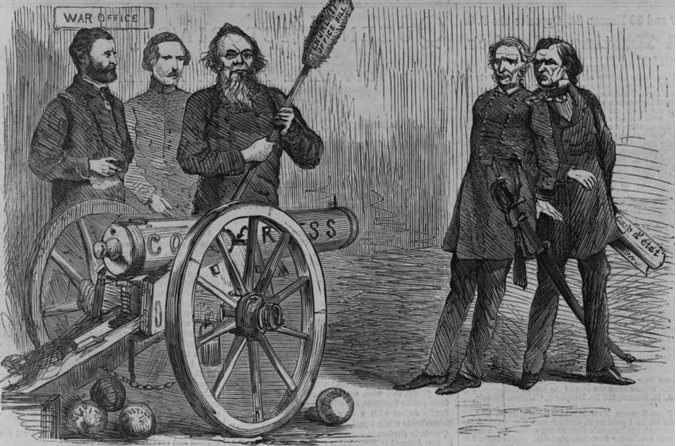 "The cartoon shows three men in front of the war office, standing around a cannon labeled ""Congress."" Edwin Stanton uses a ramrod labeled ""Tenure of Office Bills"" to load the cannon with balls labeled ""Justice."" The cannon is aimed at Johnson and Thomas. Johnson holds a piece of paper labeled ""coup d'état."""