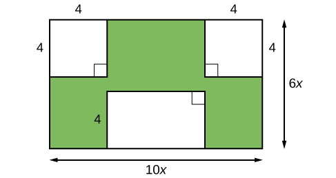 A large rectangle with smaller squares and a rectangle inside. The length of the outer rectangle is 6x and the width is 10x. The side length of the squares is 4 and the height of the width of the inner rectangle is 4.