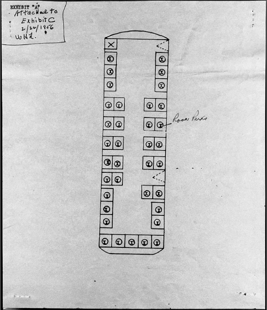 A diagram shows a simple, rectangular outline of the inside of a bus from above. Squares represent seats and circles with x's in the center represent people sitting in those seats, showing that all seats were occupied. Rosa Parks's seat is identified as five rows from the front on the right side next to a window. There is writing in the top-left corner of the paper that says