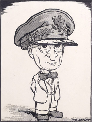 Cartoon Truman wears General MacArthur's military hat, which is too big for him.