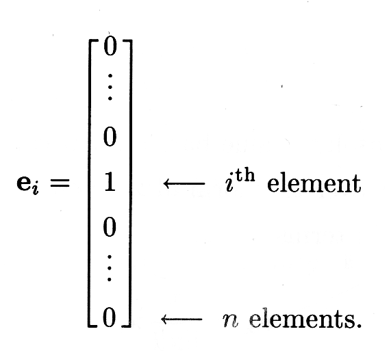 Figure 3 is a vector e_1 with arrows pointing to a specific entry in the vector, designating the i-th element, and to the last entry in the vector, designating a total of n elements.