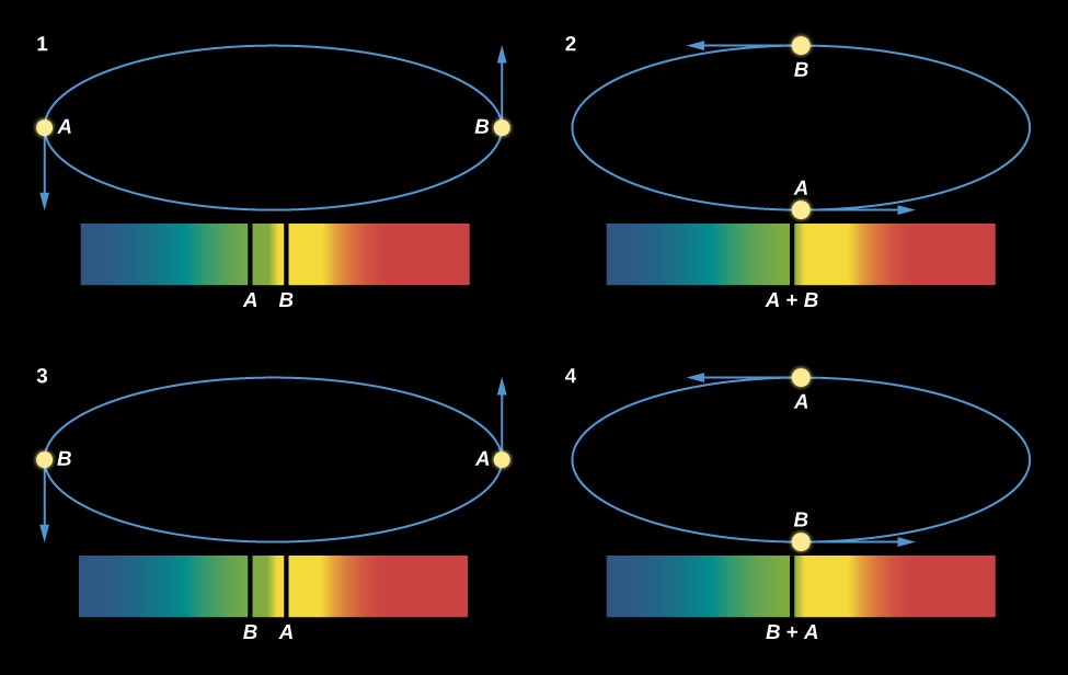 "Motions of Two Stars Orbiting Each Other and What the Spectrum Shows. This figure has four binary star spectra, each with blue wavelengths on the left and red wavelengths on the right. Above each spectrum is a diagram showing the orbit of the two binary stars. Spectrum 1 has two spectral lines, one from each star. The lines for star B is roughly in the center of the spectrum, and the line for star A is a little to the left. The orbit shows the stars at opposite sides horizontally, with an arrow pointing down from star A and an arrow pointing up from star B, indicating that the stars are moving horizontally to our line of sight. In spectrum 2, both lines merge into one and the line is labeled ""A + B"". The orbit shows the stars at opposite sides horizontally, with an arrow pointing right from star A and an arrow pointing left from star B, indicating that the stars are moving perpendicularly to our line of sight. In spectrum 3 the line for star B is near the center and that of star A is on the right. The orbit shows the stars at opposite sides horizontally, with an arrow pointing up from star A and an arrow pointing down from star B, indicating that the stars are moving horizontally to our line of sight. Finally, in spectrum 4, the lines have again merged near the center and the line is labeled ""B + A"". The orbit shows the stars at opposite sides horizontally, with an arrow pointing left from star A and an arrow pointing right from star B, indicating that the stars are moving perpendicularly to our line of sight."
