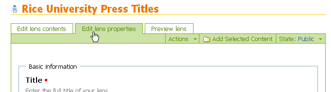 Edit lens properties tab