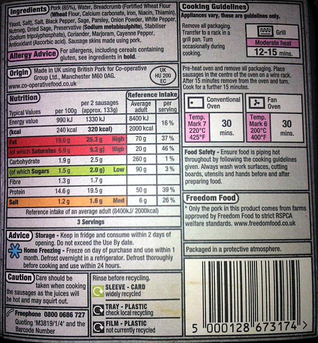 A food label from the UK showing the energy of the food in both Joules and kcal (or Calories).