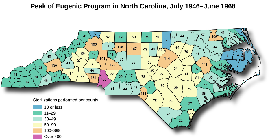 "A map of North Carolina titled ""Peak of Eugenic Program in North Carolina, July 1946-June 1968"". A legend reads ""Sterilizations performed by county"" and marks the counties into six categories. Seven counties are marked ""10 or less"". Twenty-six counties are marked ""11-29"". Twenty-five counties are marked ""30-49"". Twenty-seven counties are marked ""50-99"". Eleven counties are marked ""100-399"". One county is marked ""Over 400""."