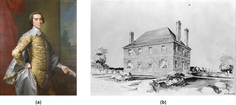 Left: An image of Robert Carter III. Right: A large colonial house.