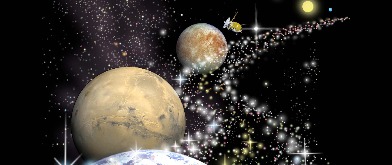 The Road to Life in the Universe. At lower left is Mars above and behind a small portion of Earth in the foreground. Beyond Mars, up and to the right, is Europa. Finally, at upper right, is a star with an orbiting planet. To the right of these objects, a road of stars winds its way into the distance, with a scientific spacecraft following the road to scientific discovery.