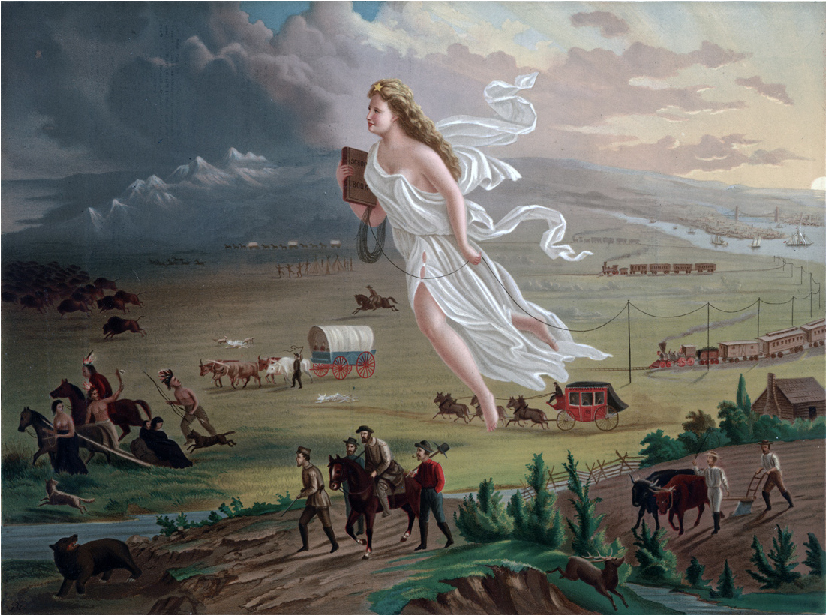 Painting showing a much larger-than-life woman in the center with a star on her head and wearing a flowing white garment. She moves from the light-skied east to the dark west, leading white settlers who follow her either on foot or by stagecoach, horseback, Conestoga wagon, wagon train, or riding steam trains. She lays a telegraph wire with one hand and carries a school book in the other. As she moves westward, indigenous people and a herd of buffalo are seen fleeing her and the settlers.