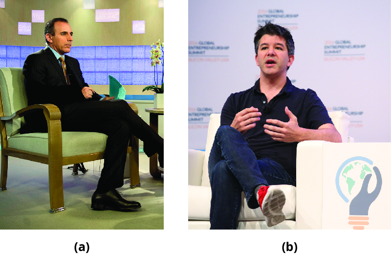 Part A shows Matt Lauer. Part B shows Travis Kalanick.