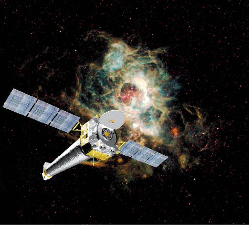 Artist's conception of the Chandra X-Ray Satellite, seen against the backdrop of a colorful gaseous nebula in space.